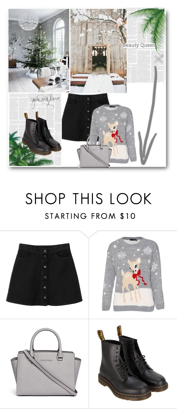 """Abba– Happy New Year"" by omgumathurmanme0 ❤ liked on Polyvore featuring Monki, MICHAEL Michael Kors and Dr. Martens"
