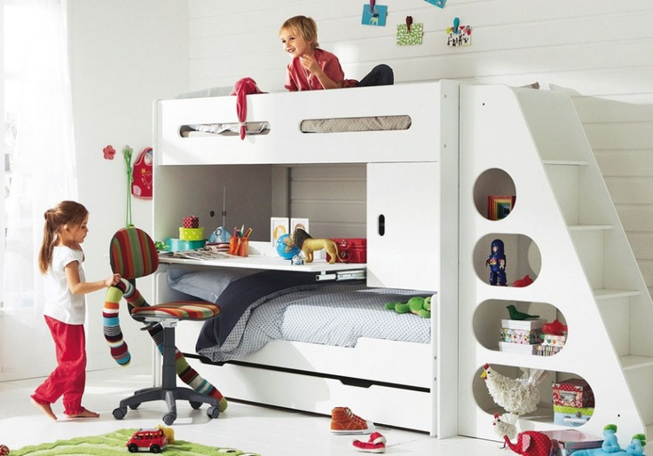 Modern White Bunk Beds With Sliding Desk For Girls And Boys Room