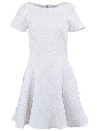 Almari - Světle šedé šaty s bílými puntíky - 1