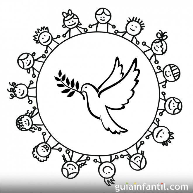 Https Www Guiainfantil Com Dibujo De Un Corro De Ninos Alrededor De Una Paloma Dia De La Paz Dibujos De La Paz Dibujos
