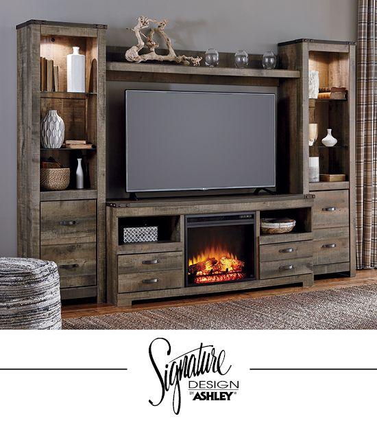 Trinell Entertainment Wall Fireplace Insert Option Tv