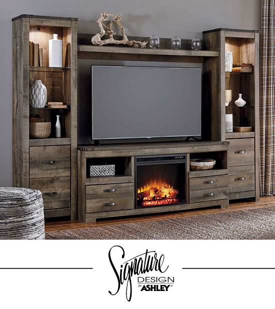 Trinell Entertainment Wall - Fireplace Insert Option - TV Stand - Living Room Furniture -  Ashley Furniture