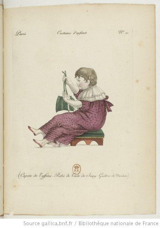 Child's Dress Ensemble with Taffeta Bonnet - Paris, France - 1810