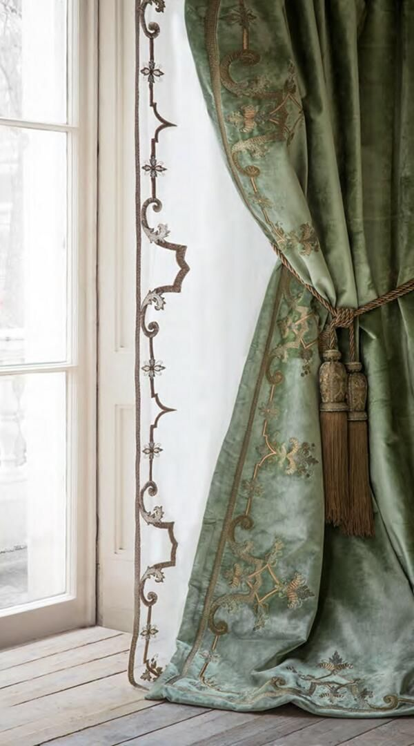 I like the flat sheers with their delicately traced embroidery edging.  [Savannah London : Photo]