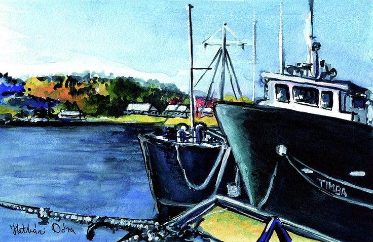 Timba At Monkey Bay Painting by Dora Hathazi Mendes. Watercolor painting about a cartography ship from Lake Malawi.