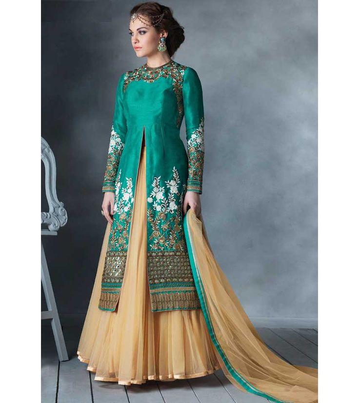 Naksh - Turquoise Semi Stitched Bhagalpuri Silk Lehenga Suit