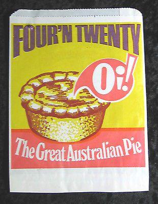 Vintage Four'N Twenty Oi! The Great Australian Pie Bag 1950s Unused