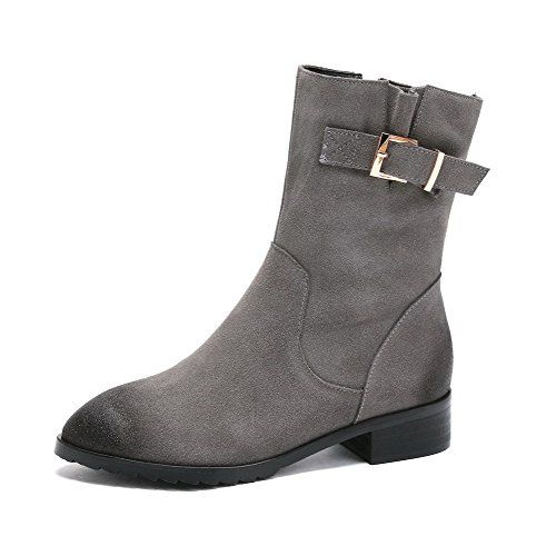 Women's Solid Imitated Suede Boots with Thread and Metal Buckles