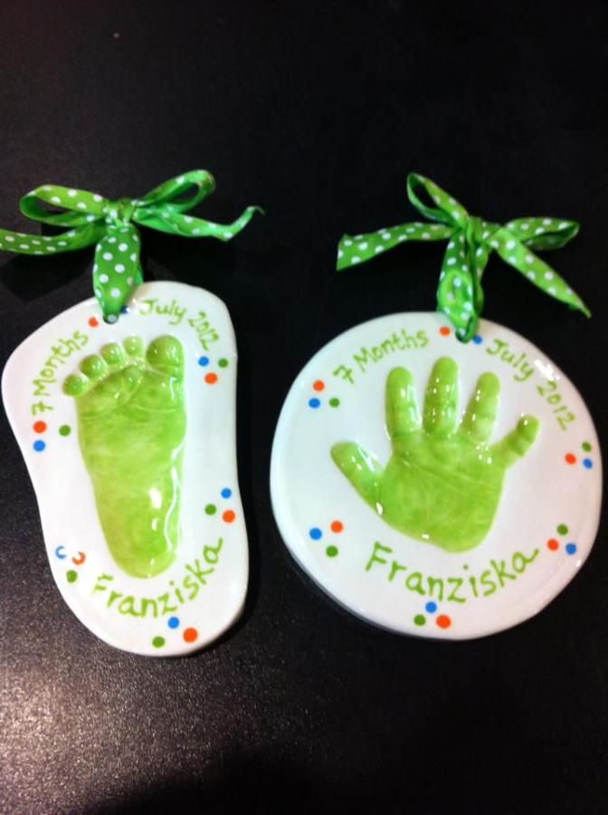 Clay impression foot and hand print ornaments
