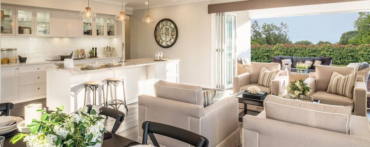 Large scale entertaining made a pleasure and a breeze in the St Tropez open plan living space - St. Tropez Home Design - On display at New Town TAS  #hamptondecorideas #wilsonhomes