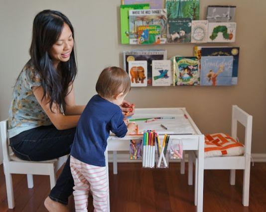 toddler art table (an Ikea LATT hack) from freckleschick.blogspot.com