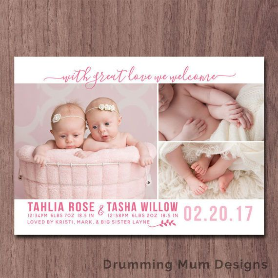 Twin birth announcement modern collage twins birth announcement modern twin announcement boys girls photo card 3 pictures photos custom text