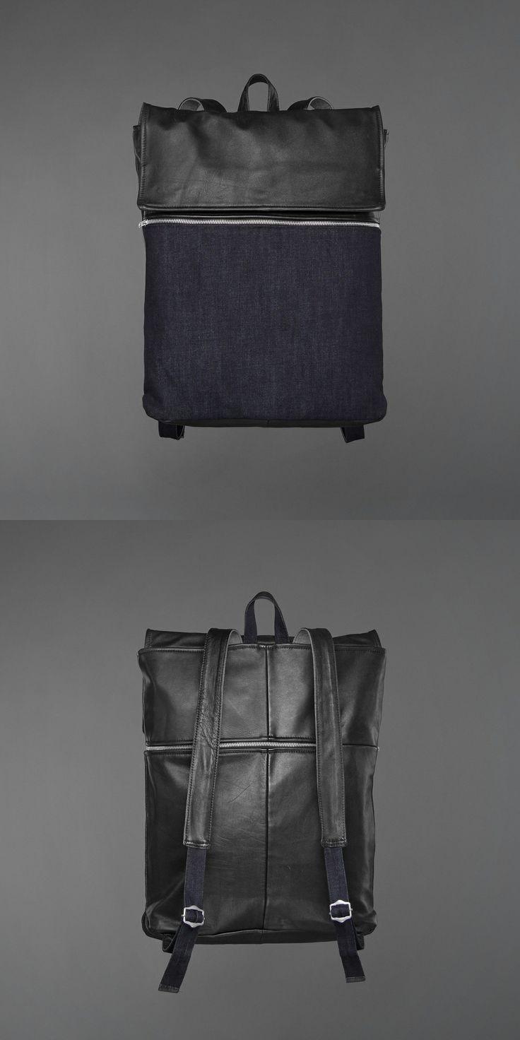 Alan Back Pack - denim & recycled leather http://ervinlatimer.com/product/alan-back-pack