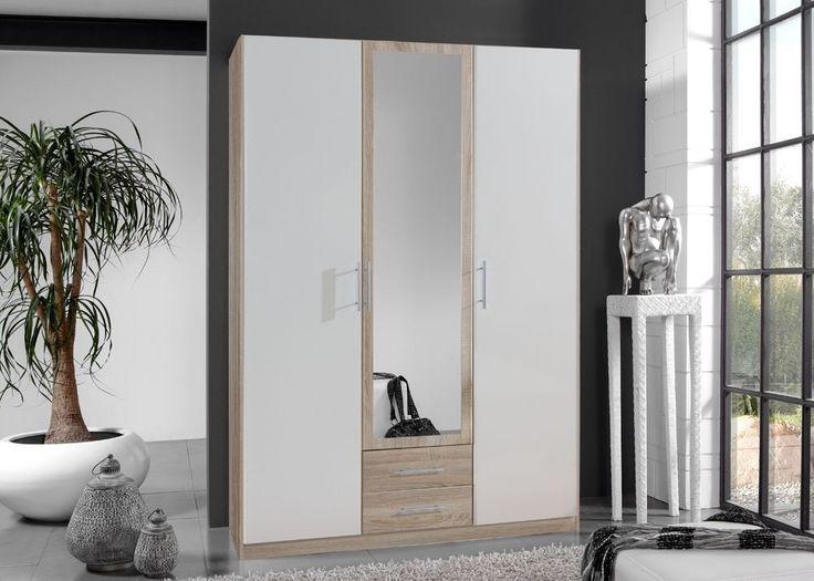 Kleiderschrank 135,0 cm Weiß Eiche Sägerau 5712. Buy now at https://www.moebel-wohnbar.de/kleiderschrank-cliff-schlafzimmerschrank-135-0-weiss-eiche-saegerau-5712.html