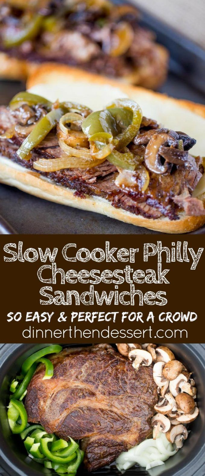 Slow Cooker Philly Cheese Steak Sandwiches that are so tender and flavorful you&…