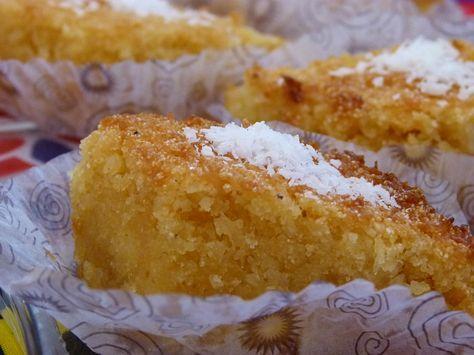 Rezept für Bassima - Ägyptischer Kokosnusskuchen mit Grieß und Kokos Vegan Vegetarisch