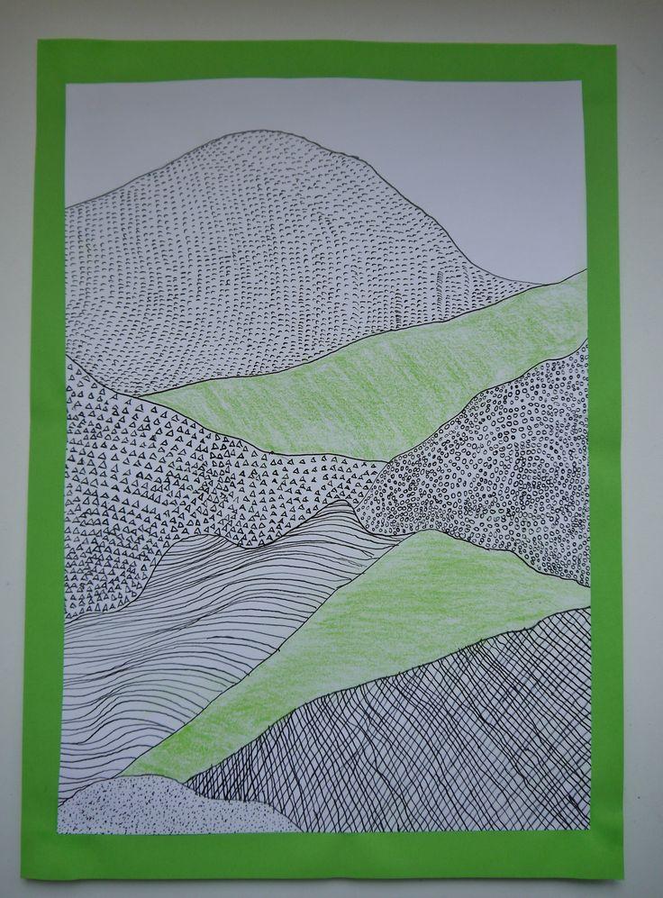 www.juf-lisanne.nl Opdracht voor de midden- of bovenbouw: een berglandschap maken met Oost-Indische inkt.