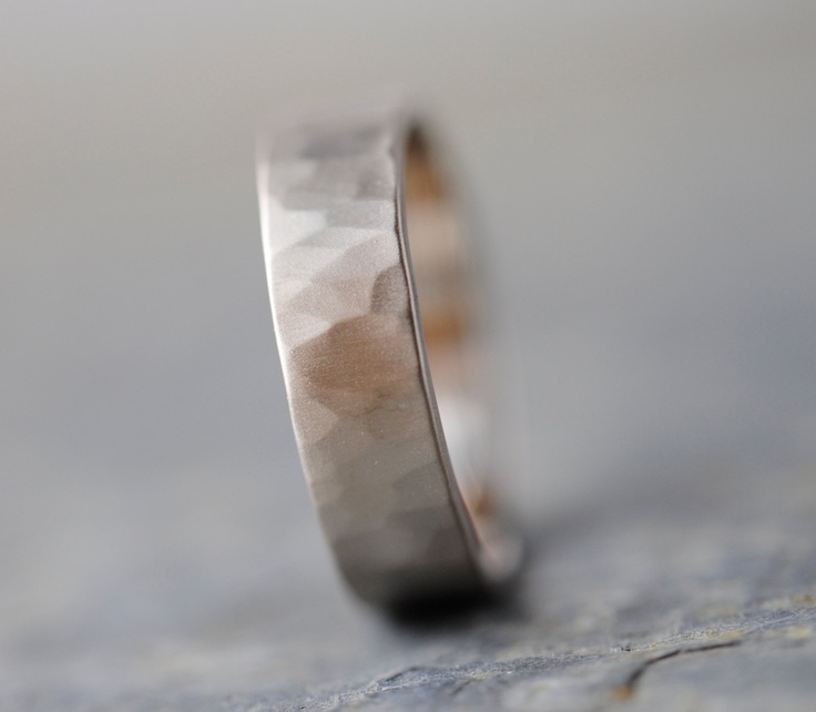 14k Gold Wedding Band 6mm Wide Hand Forged Ring 950 00 Via Etsy