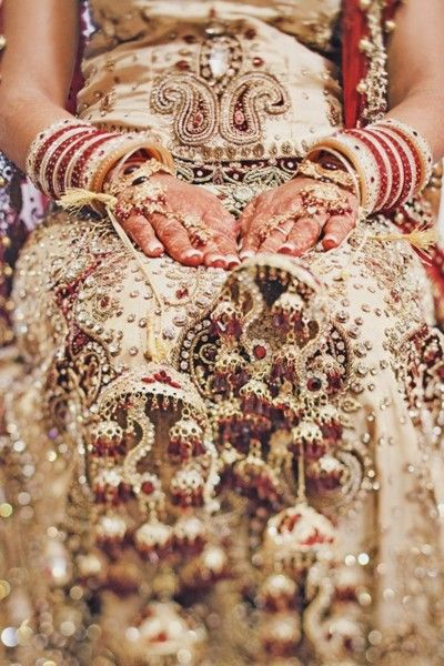 Love this shot- really highlights the beauty and detail of traditional indian wedding attire! (#indianweddings)