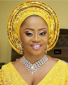 Look at this STUNNER! @ms_oreoluwa1 makeup by @demiwilliam for #BMPro, Aso Oke by @bimmms24 #BellaNaijaWeddings
