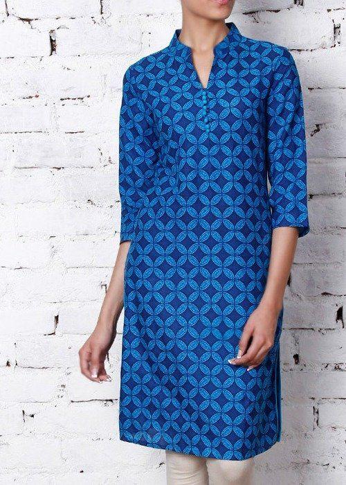 Roposo.com - Latest printed mandarin-collar three-quarter-sleeve ethnic kurtis with buttons online blue cotton printed kurta
