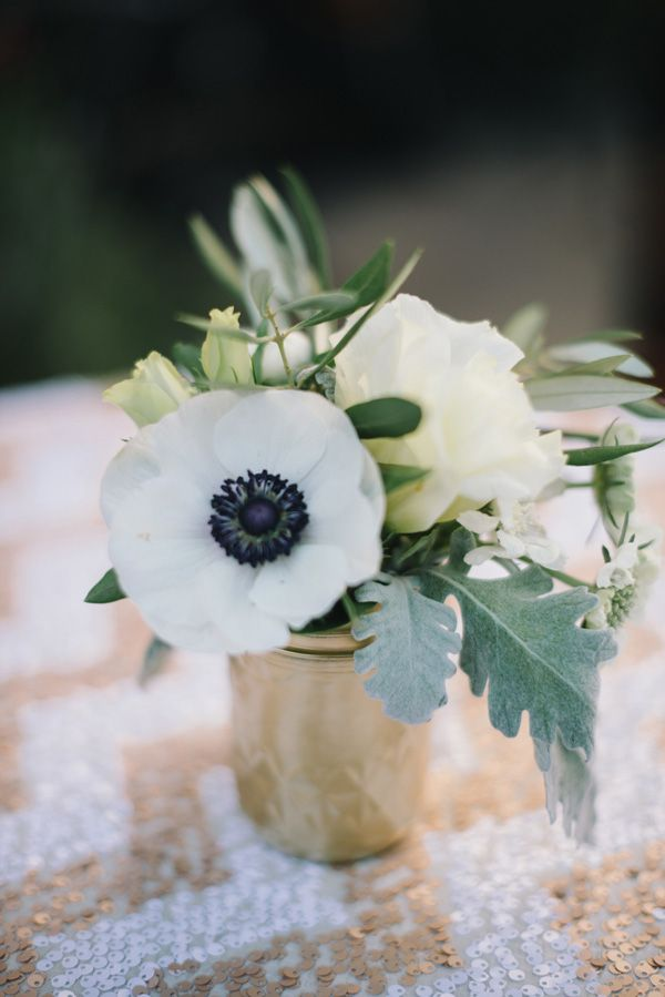 anemones + a sequin chevron tablecloth // photo by Delbarr Moradi // styling by Lovely Little Details