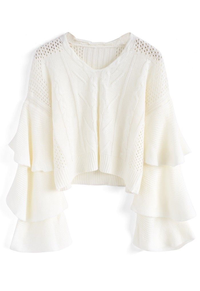 427c8f9f24d Dolce Cable Knit Crop Sweater in Tiered Bell Sleeves - Sweaters - TOPS -  Retro