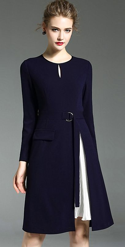 Brief O-Neck Long Sleeve A-Line Dress