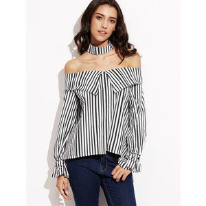 Black White Stripe Off The Shoulder Blouse With Choker