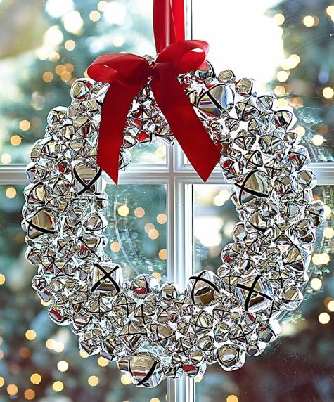 Silver bell wreath with ribbon http rstyle me n