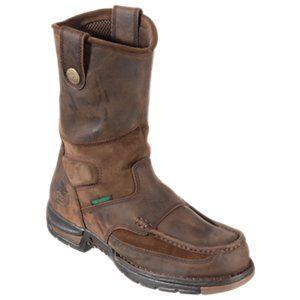 Georgia Boot Athens Waterproof Wellington Work Boots for Men - Brown - 11.5W