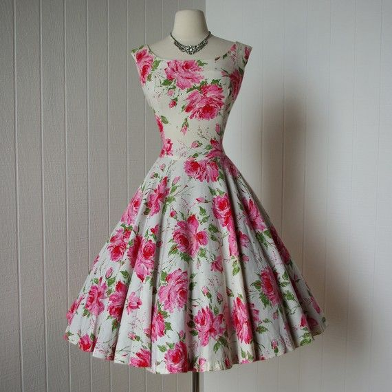 vintage 1950s dress   ...designer JACKIE MORGAN quintessential fifties floral rose print full skirt pin-up dress sprinkled with rhinestones