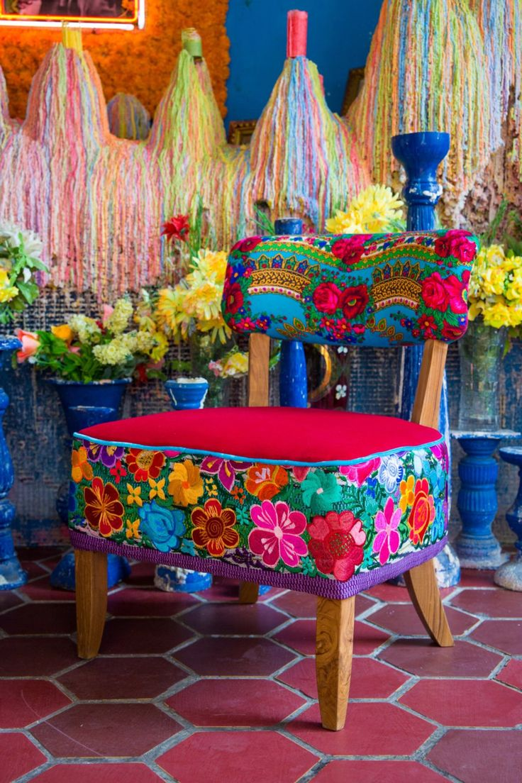 Mexican Dream chairs, handmade with Mexican embroidery and velvet. Bohemian style