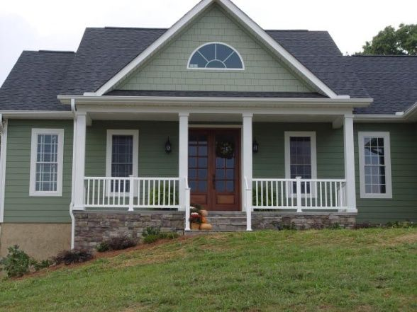 Green Cottage Mini Farm House, The Siding Is Hardi Plank With A Custom Green  Paint Color And Cream Trim.