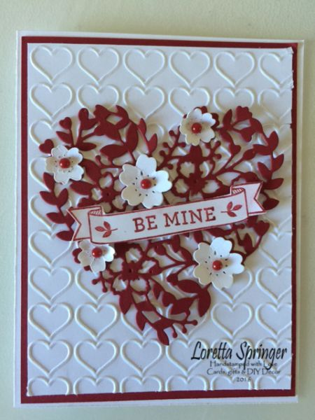 SU Birthday Blooms - by Sandy: Bloomin' Love stamp set, Bloomin' Heart Thinlits, Happy Hearts embossing folder