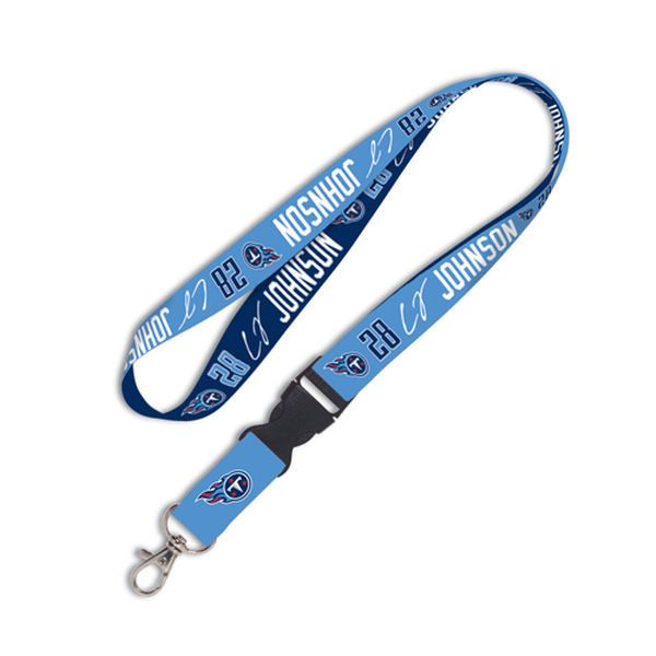 Chris Johnson Tennessee Titans Player Buckle Lanyard - Light Blue/Navy Blue