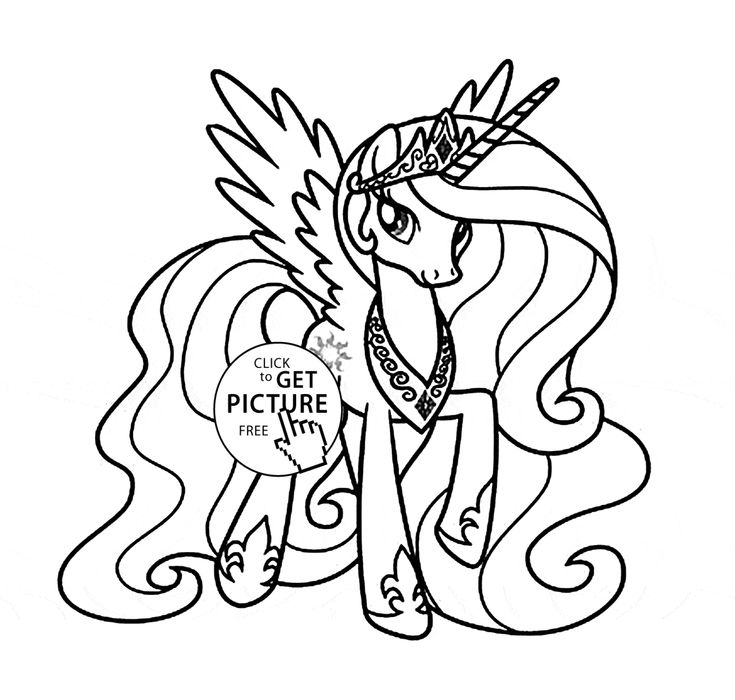 Princess Celestia - My little pony coloring page for kids, for girls coloring pages printables free - Wuppsy.com