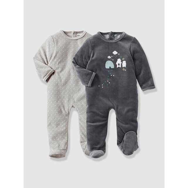 lot de 2 pyjamas bébé velours VERTBAUDET