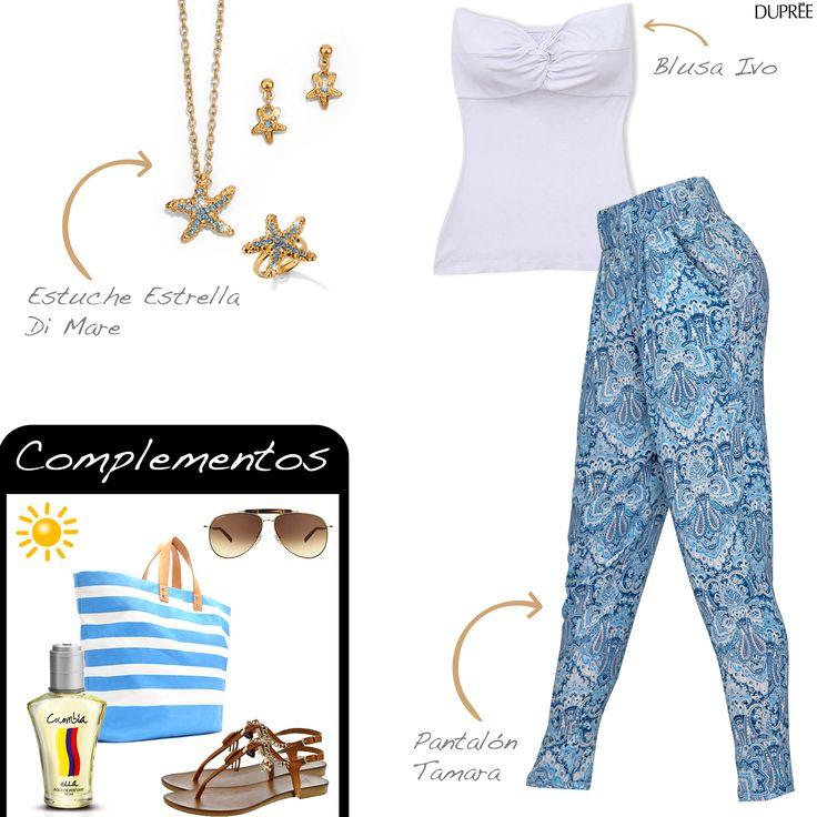 Para días de playa. Moda mujer Duprée. Pantalón estampado y blusa blanca strapless