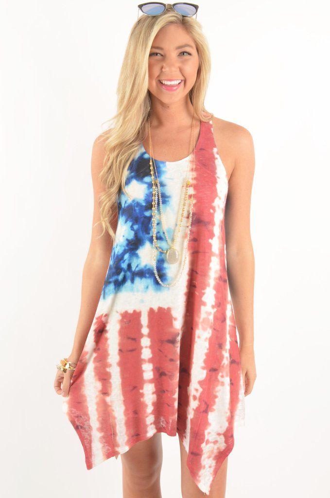 Red, White, and Blue Tie-Dye American Flag Dress #iheartDSP #RedWhiteandBlue #Merica