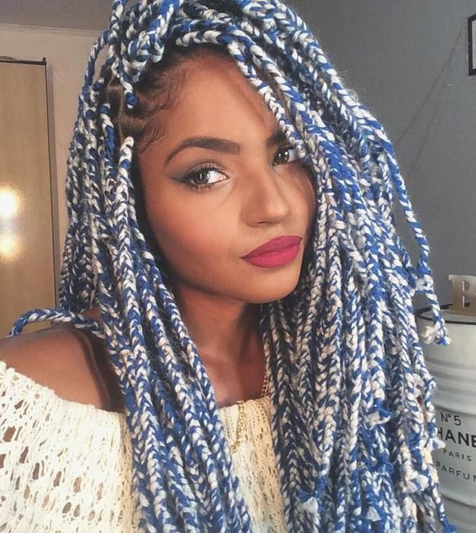 Layered Blue Melange Yarn Braids