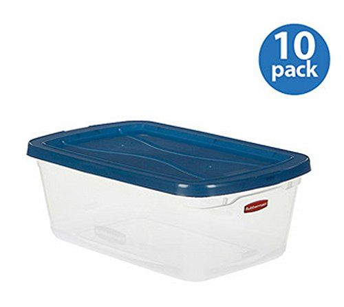 rubbermaid large plastic storage organizer container portable boxes clear set of 10 16 gal 65quart used