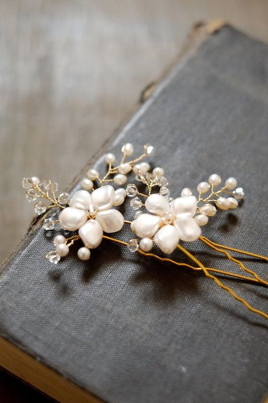 LAURA Bridal Hair Pieces Wedding Hair Pins - Styling Tip: Use vintage books behind jewelry.
