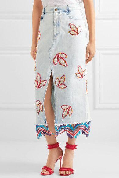 Peter Pilotto - Lace-trimmed Embellished Denim Midi Skirt - Light denim