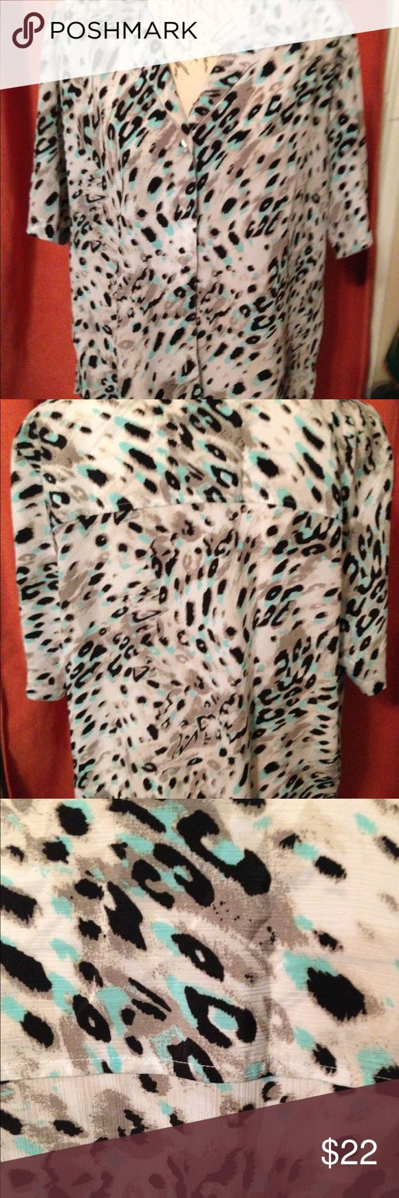 "DonnKenny Women's Animal Print A 1 Blouse EUC short sleeve, button front, animal print is lightweight polyester crinkle fabric with side vents. Multi colors of teal, black, beige and gray.  Size XL measuring 24"" pit to pit with 26"" length. Donnkenny Tops Blouses"