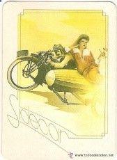 -47238 CALENDARIO PINTURA MUJER ENAMORADA EN MOTO, AÑO 1989, SERIE BO 5337, CON PUBLICIDAD