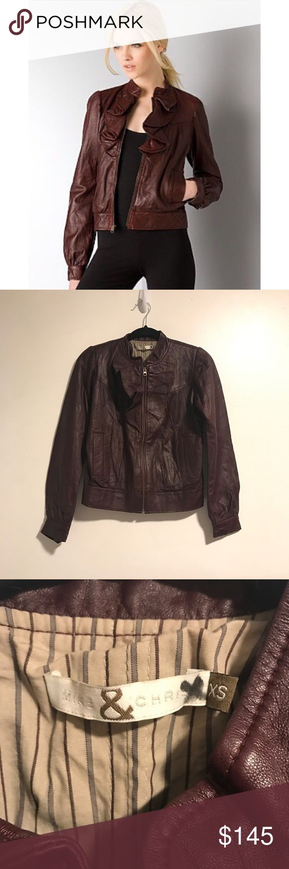 $645 Mike & Chris Lambskin Leather Janus Jacket Beautiful wine colored ruffled lambskin leather jacket from Mike & Chris. Size XS. Leather is in excellent condition and jacket is overall. One small flaw is that a button on one cuff is coming loose but this is an easy fix. 100% lamb skin leather. Originally $645. No trades! Mike & Chris  Jackets & Coats