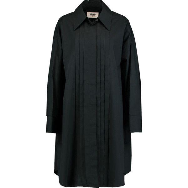 MM6 Maison Margiela Oversized pintucked cotton-poplin shirt dress (9.880 RUB) ❤ liked on Polyvore featuring dresses, black, cotton poplin dress, t-shirt dresses, petite shirt dress, loose shirt dress and pintuck dress