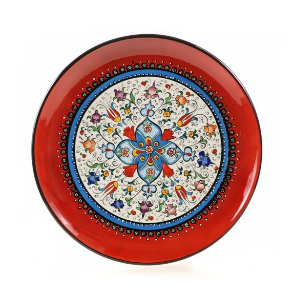 This hand painted Turkish decorative plate is a beautiful example of Turkish ceramics. This large Turkish ceramic plate adds to your Turkish decor and Mediterranean decor. Our decorative plates are lead-free, and lovely serving or decorative wall plates.