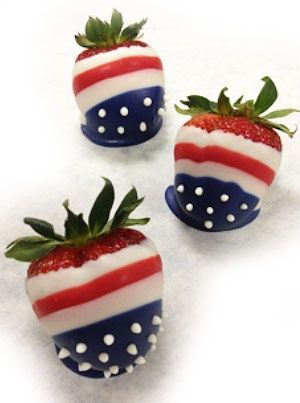 Easy Star Spangled American Flag Chocolate Covered Strawberries!
